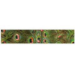 Peacock Feathers Green Background Flano Scarf (large) by Simbadda