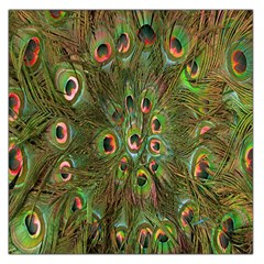 Peacock Feathers Green Background Large Satin Scarf (square) by Simbadda