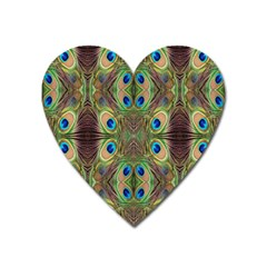 Beautiful Peacock Feathers Seamless Abstract Wallpaper Background Heart Magnet by Simbadda