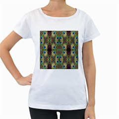 Beautiful Peacock Feathers Seamless Abstract Wallpaper Background Women s Loose-Fit T-Shirt (White) by Simbadda