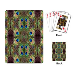 Beautiful Peacock Feathers Seamless Abstract Wallpaper Background Playing Card by Simbadda