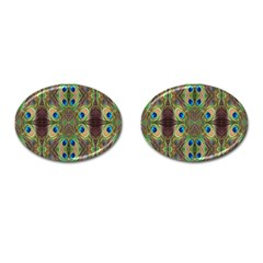 Beautiful Peacock Feathers Seamless Abstract Wallpaper Background Cufflinks (oval) by Simbadda