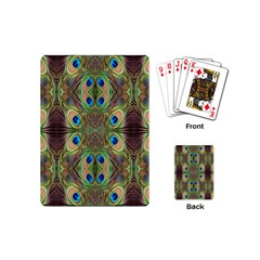 Beautiful Peacock Feathers Seamless Abstract Wallpaper Background Playing Cards (mini)  by Simbadda