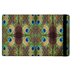 Beautiful Peacock Feathers Seamless Abstract Wallpaper Background Apple Ipad 2 Flip Case by Simbadda