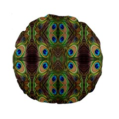 Beautiful Peacock Feathers Seamless Abstract Wallpaper Background Standard 15  Premium Round Cushions by Simbadda