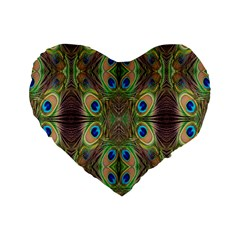 Beautiful Peacock Feathers Seamless Abstract Wallpaper Background Standard 16  Premium Heart Shape Cushions by Simbadda