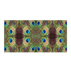 Beautiful Peacock Feathers Seamless Abstract Wallpaper Background Satin Wrap by Simbadda