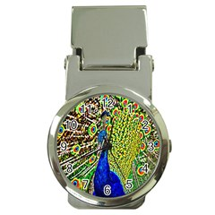 Graphic Painting Of A Peacock Money Clip Watches by Simbadda