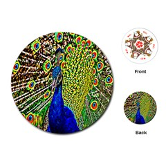 Graphic Painting Of A Peacock Playing Cards (round)  by Simbadda