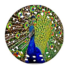 Graphic Painting Of A Peacock Round Filigree Ornament (two Sides) by Simbadda