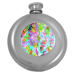 Bright Rainbow Background Round Hip Flask (5 Oz) by Simbadda