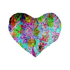 Bright Rainbow Background Standard 16  Premium Flano Heart Shape Cushions by Simbadda
