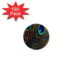 Peacock Feathers 1  Mini Buttons (100 Pack)  by Simbadda