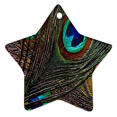 Peacock Feathers Star Ornament (two Sides) by Simbadda