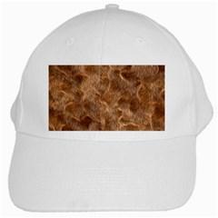 Brown Seamless Animal Fur Pattern White Cap by Simbadda