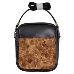 Brown Seamless Animal Fur Pattern Girls Sling Bags by Simbadda