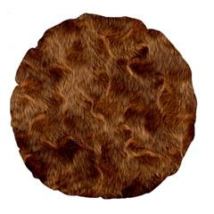 Brown Seamless Animal Fur Pattern Large 18  Premium Round Cushions by Simbadda