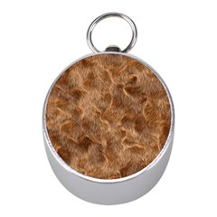 Brown Seamless Animal Fur Pattern Mini Silver Compasses by Simbadda