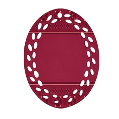 Heart Pattern Background In Dark Pink Oval Filigree Ornament (two Sides) by Simbadda