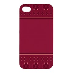 Heart Pattern Background In Dark Pink Apple Iphone 4/4s Hardshell Case by Simbadda