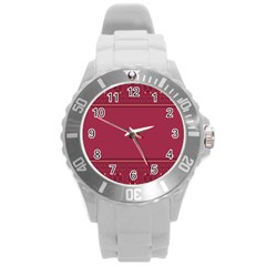 Heart Pattern Background In Dark Pink Round Plastic Sport Watch (l) by Simbadda