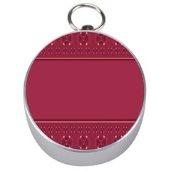 Heart Pattern Background In Dark Pink Silver Compasses by Simbadda