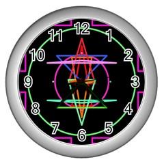 Drawing Of A Color Mandala On Black Wall Clocks (silver)  by Simbadda