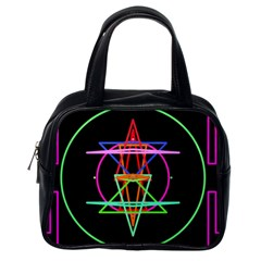 Drawing Of A Color Mandala On Black Classic Handbags (one Side) by Simbadda
