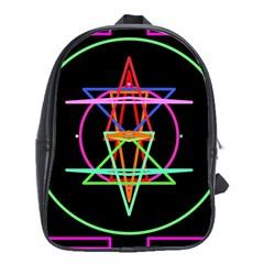 Drawing Of A Color Mandala On Black School Bags (xl)  by Simbadda