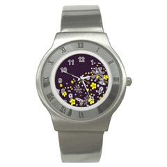 Vintage Retro Floral Flowers Wallpaper Pattern Background Stainless Steel Watch by Simbadda