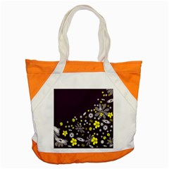Vintage Retro Floral Flowers Wallpaper Pattern Background Accent Tote Bag by Simbadda
