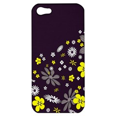 Vintage Retro Floral Flowers Wallpaper Pattern Background Apple Iphone 5 Hardshell Case by Simbadda