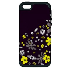 Vintage Retro Floral Flowers Wallpaper Pattern Background Apple Iphone 5 Hardshell Case (pc+silicone) by Simbadda