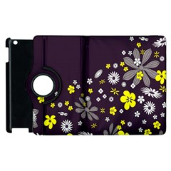 Vintage Retro Floral Flowers Wallpaper Pattern Background Apple Ipad 3/4 Flip 360 Case by Simbadda