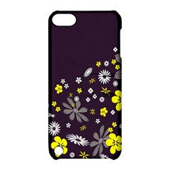 Vintage Retro Floral Flowers Wallpaper Pattern Background Apple Ipod Touch 5 Hardshell Case With Stand by Simbadda