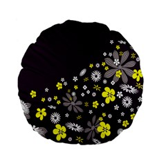 Vintage Retro Floral Flowers Wallpaper Pattern Background Standard 15  Premium Flano Round Cushions by Simbadda