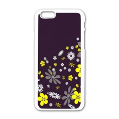 Vintage Retro Floral Flowers Wallpaper Pattern Background Apple Iphone 6/6s White Enamel Case by Simbadda