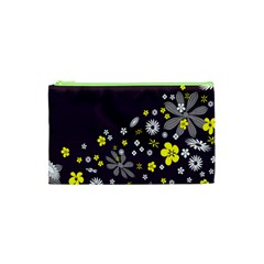 Vintage Retro Floral Flowers Wallpaper Pattern Background Cosmetic Bag (xs) by Simbadda