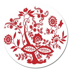 Red Vintage Floral Flowers Decorative Pattern Clipart Magnet 5  (Round) by Simbadda
