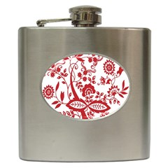 Red Vintage Floral Flowers Decorative Pattern Clipart Hip Flask (6 Oz) by Simbadda