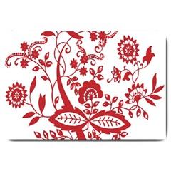 Red Vintage Floral Flowers Decorative Pattern Clipart Large Doormat
