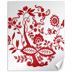 Red Vintage Floral Flowers Decorative Pattern Clipart Canvas 11  x 14   by Simbadda