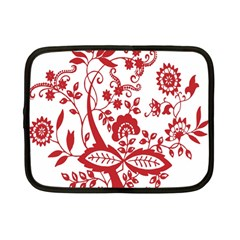 Red Vintage Floral Flowers Decorative Pattern Clipart Netbook Case (Small)