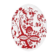 Red Vintage Floral Flowers Decorative Pattern Clipart Ornament (oval Filigree) by Simbadda