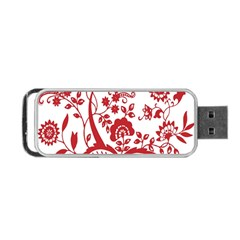 Red Vintage Floral Flowers Decorative Pattern Clipart Portable Usb Flash (two Sides) by Simbadda