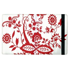 Red Vintage Floral Flowers Decorative Pattern Clipart Apple Ipad 2 Flip Case by Simbadda