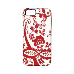 Red Vintage Floral Flowers Decorative Pattern Clipart Apple Iphone 5 Classic Hardshell Case (pc+silicone) by Simbadda