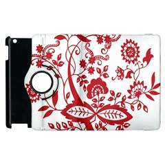Red Vintage Floral Flowers Decorative Pattern Clipart Apple Ipad 3/4 Flip 360 Case by Simbadda