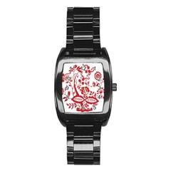 Red Vintage Floral Flowers Decorative Pattern Clipart Stainless Steel Barrel Watch by Simbadda