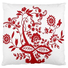 Red Vintage Floral Flowers Decorative Pattern Clipart Standard Flano Cushion Case (two Sides)